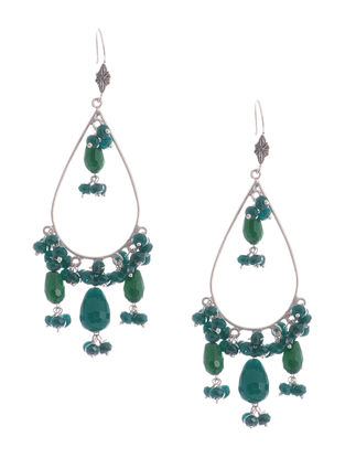 Green Onyx and Agate Drop Silver Earrings