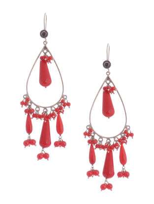 Red Onyx Drop Silver Earrings