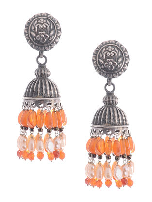 Carnelian and Pearl Drop Silver Jhumkis