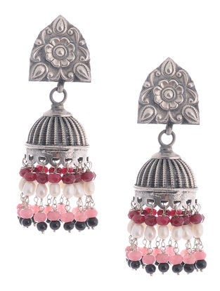 Pink Agate and Pearl Drop Silver Jhumkis with Floral Motif