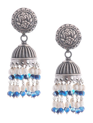 Banded Agate and Pearl Drop Silver Jhumkis