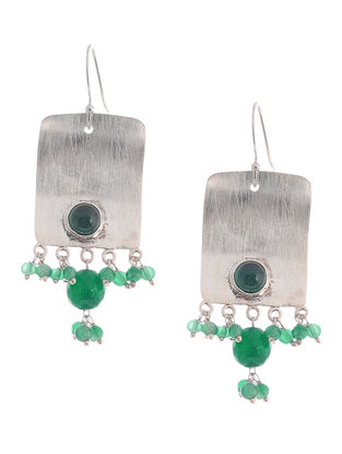 Green Onyx Drop Silver Earrings