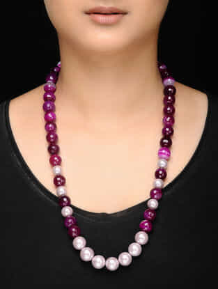 Pink-Maroon Agate and Water Pearl Beaded Necklace