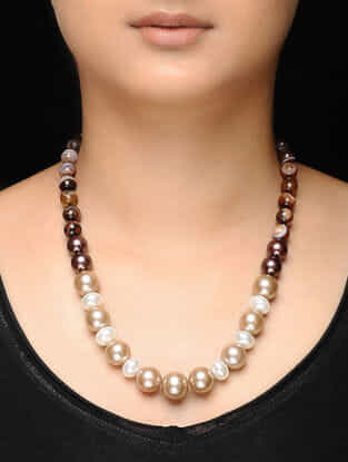 Brown-White Agate and Pearl Beaded Necklace
