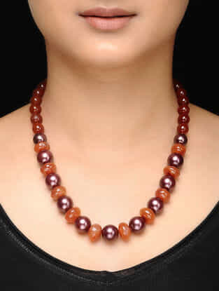 Orange Brown Carnelian and Water Pearl Beaded Necklace