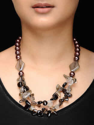 Brown Smokey Topaz and Agate Beaded Necklace