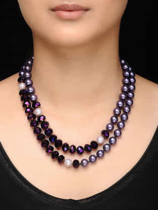 Purple Pearl and Crystal Beaded Necklace