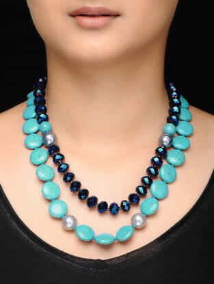 Turquoise Crystal Beaded Necklace