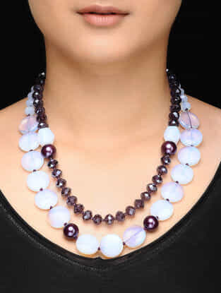 White-Pearl Opal Beaded Necklace