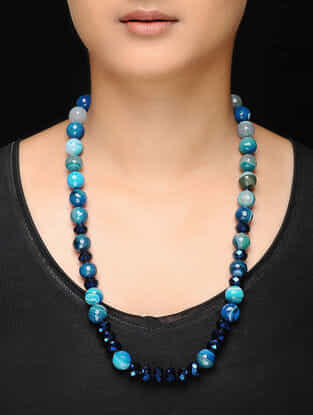 Blue Agate and Crystal Beaded Necklace