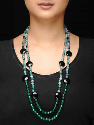 Green-Black Agate and Onyx Beaded Necklace