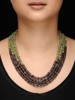 Green-Brown Peridot and Smokey Topaz Beaded Necklace