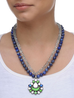 Lapis Lazuli and Crystallite Beaded Silver Necklace