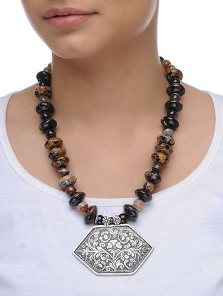 Brown Bati Agate and Agate Beaded Silver Necklace with Floral Motif