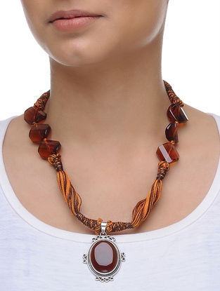 Carnelian and Quartz Silver Thread Necklace