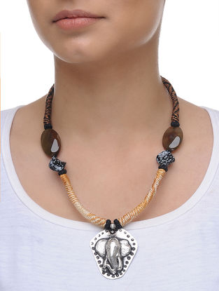 Agate and Obsidian Silver Necklace with Lord Ganesh Motif