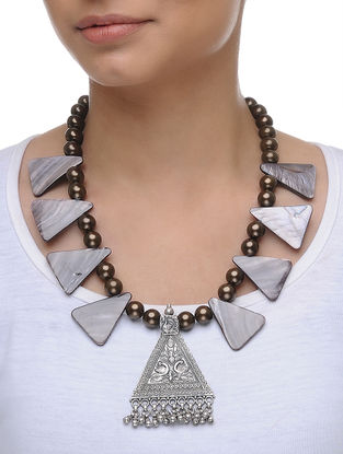 Mother of Pearl and Pearl Silver Necklace