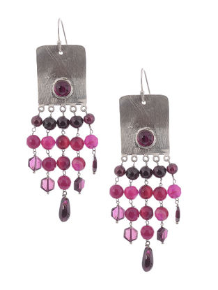 Garnet and Agate Silver Earrings