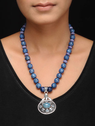 Blue Agate Silver Necklace