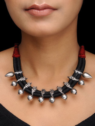 Black-Maroon Thread Silver Necklace