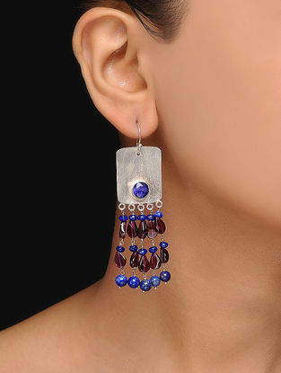 Lapis Lazuli and Garnet Silver Earrings