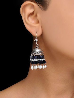 Blue Sandstone Silver Jhumkis with Pearls