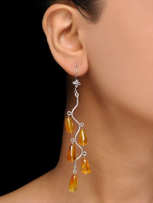 Yellow Calci Silver Earrings