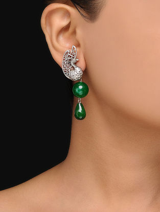Green Onyx Silver Earrings with Peacock Design