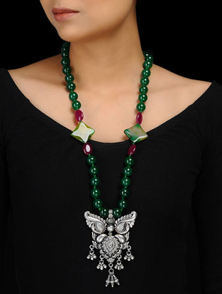 Green Agate and Maroon Agate Beaded Silver Necklace