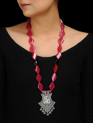 Pink Agate Silver Necklace with Lord Ganesha Motif