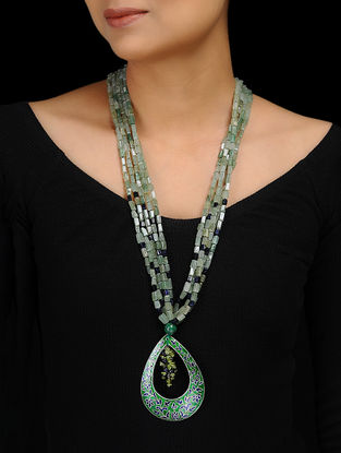 Green Agate and Blue Sand Stone Enameled Silver Necklace