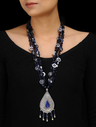 Blue Sun Stone and Mother of Pearl Silver Necklace