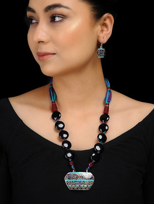 Multicolored Enameled Silver Necklace with a Pair of Earrings (Set of 2)