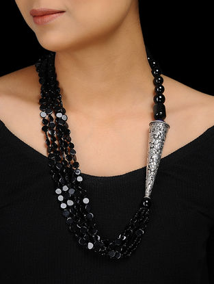 Black Onyx and Agate Beaded Silver Necklace