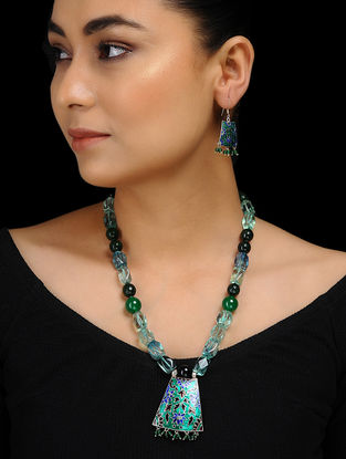 Green Onyx and Agate Enameled Silver Necklace with a Pair of Earrings (Set of 2)