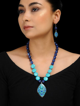 Blue Agate and Turquoise Enameled Silver Necklace with a Pair of Earrings (Set of 2)