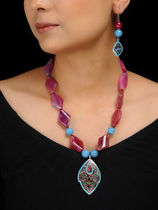 Pink Agate and Blue Aquamarine Enameled Silver Necklace with a Pair of Earrings (Set of 2)