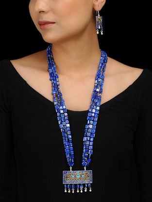 Lapis Lazuli Enameled Silver Necklace with a Pair of Earrings (Set of 2)