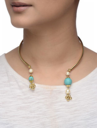 Turquoise Gold-plated Silver Hasli with Shell Pearls