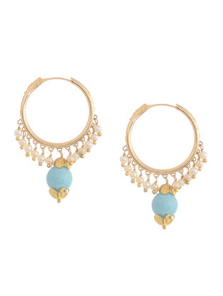 Turquoise Gold-plated Silver Earrings with Shell Pearls