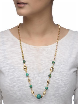 Green Onyx Gold-plated Silver Necklace