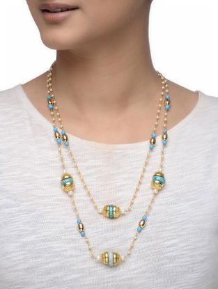 Blue Gold-plated Silver Necklace with Pearls