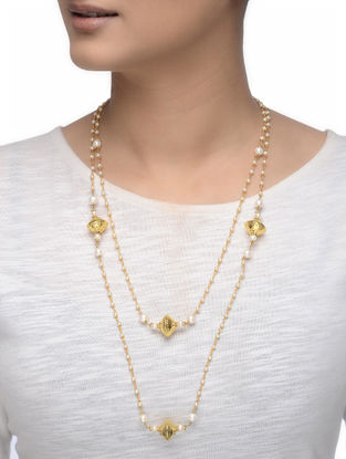 Gold-plated Silver Necklace with Pearls