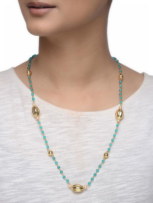 Blue Beaded Gold-plated Silver Necklace
