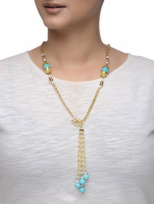 Turquoise Gold-plated Silver Necklace with Pearls