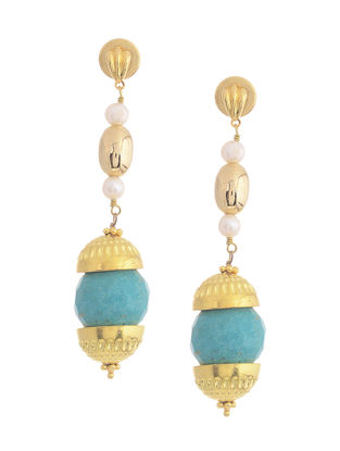Turquoise Gold-plated Silver Earrings with Pearls