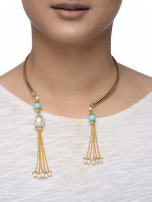 Turquoise Gold-plated Silver Hasli with Pearls