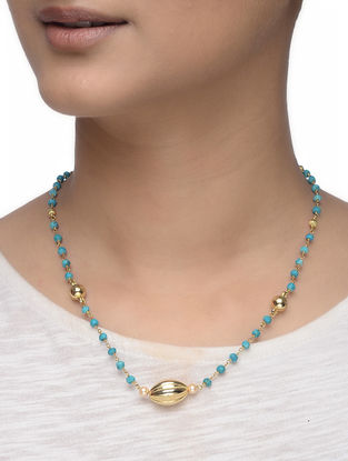 Turquoise Beaded Gold-plated Silver Necklace