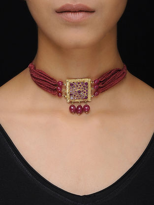Pink Thread Gold Tone Silver Necklace
