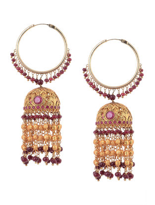 Ruby Gold Tone Silver Jhumkis